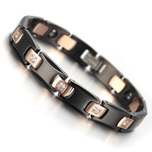 2017 Fashion Health Care Jewelry Tungsten Mens Bracelet Rose Gold & Black Colour Cubic Zirconia KB903