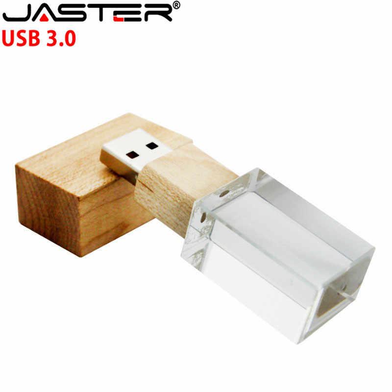 JASTER USB 3,0 креативный деревянный и Кристальный 4 ГБ 8 ГБ флеш-накопитель 16 ГБ 32 ГБ 64 Гб USB флеш-накопитель память палочка для создания логотипа индивидуальные подарки