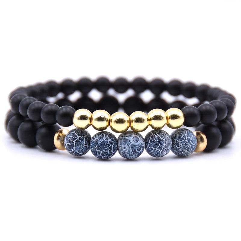 HYHONEY 2PCS/Set 6mm&8mm Matte Black Natural Beads stone Bracelet men Handmade Bracelets for women Jewelry Pulseras