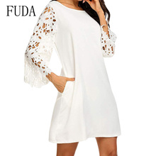 FUDA Plus Size S-XXL Casual Water-Soluble Lace Seven-quarter Sleeve Chiffon Dress Elegant Loose Summer Clothes for Women
