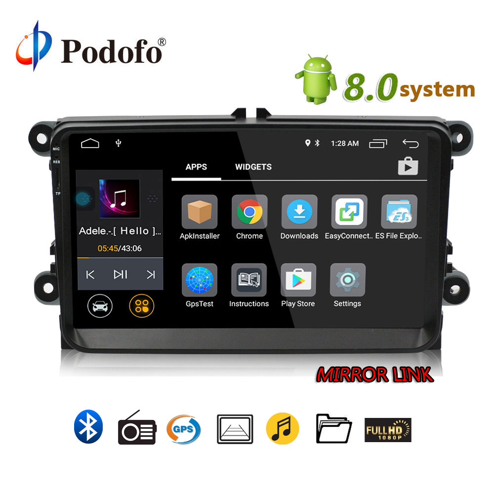 Podofo Lettore Autoradio 2 Din Android 8.0 Car Multimedia player Auto radio Per VW/Golf/MK6/MK5/Passat/Jetta/T5/EOS/SEAT/POLO