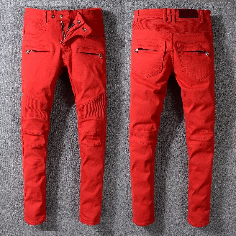 New France Style #1068# Men's Moto Zippers Pants Classic Ripped Red Skinny Denim Biker Jeans Stretch Slim Trousers Size 29-42