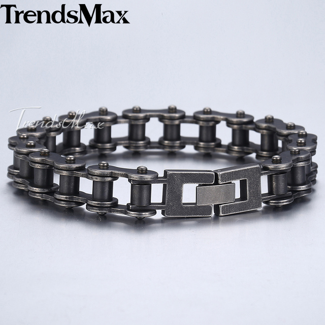 Mens Bracelet Hip Hop Bicycle Link Chain Gunmetal Matte 316L Stainless Steel Bracelet For Male Jewelry Dropshipping 12mm KHB423