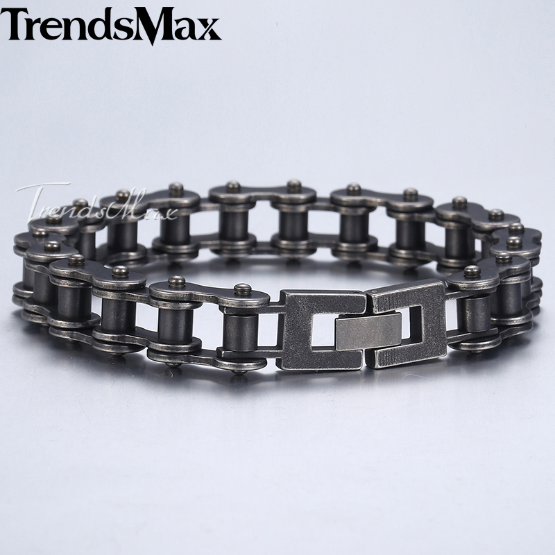 Trendsmax Fashion New Link Chain Stainless Steel Bracelet Men 12mm Wide Mens Bracelets 2018 Bicycle Chain Wristband HB423 trustylan shiny glossy 316l stainless steel mens bracelets 2018 20mm wide chain bracelets jewellery accessory man bracelet