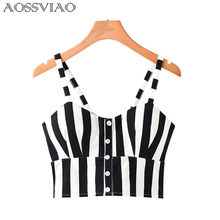 AOSSVIAO Crop Top Women Camis Halter Camisole 2019 Summer Sexy Sleeveless Slim Low Chest Button Roupas Femininas