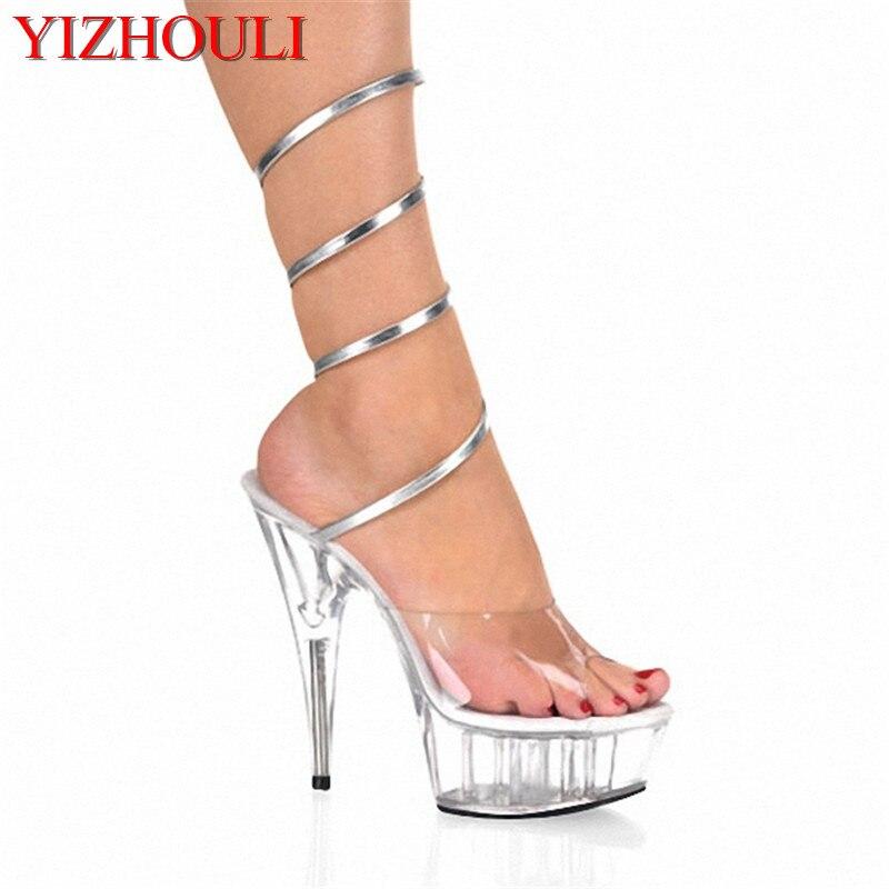 Chaussures Sexy de 6 pouces, 15 cm, talons, semelles transparentes, modèles à bande argentée, chaussures de danse
