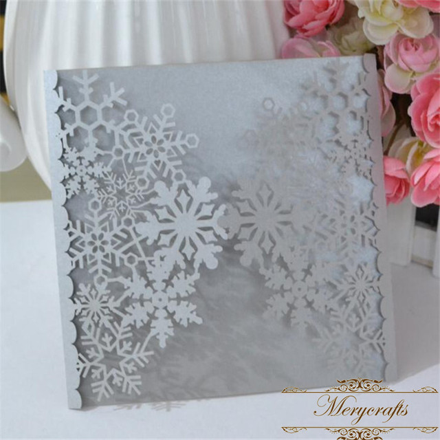 December Winter Snowflakes Laser Cut Wedding Invitations Card From Mery Brand Crafts