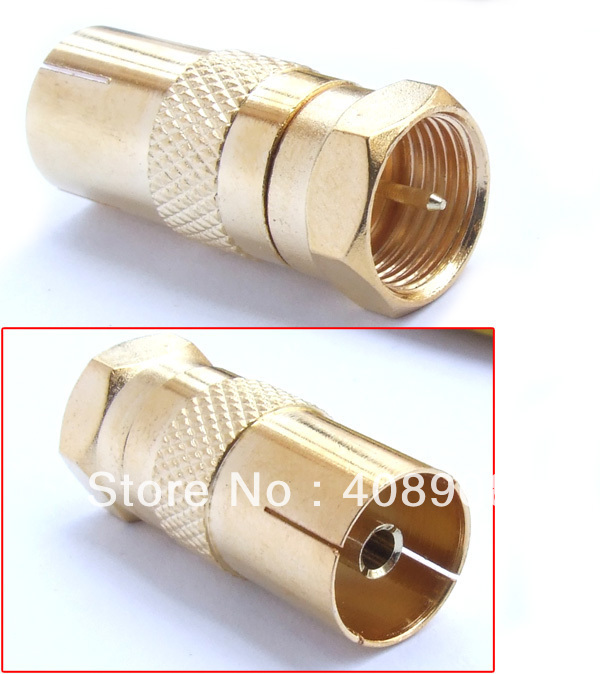 F Male TO PAL Female PLUG TV coax cable Connectors + plated f cable to tv cable convertor plug
