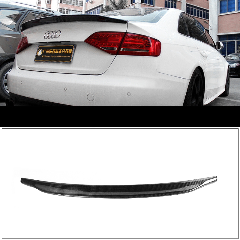 Car Styling Carbon Fiber Rear Spoiler Tail Trunk Wing Boot Lip Wing Auto Parts For Audi A4 B8 Sedan 4Doors 2009 2010 2011 2012 abs unpainted auto car rear lip spoiler wing spoiler small tail for toyota fits for toyota camry 2006 2014