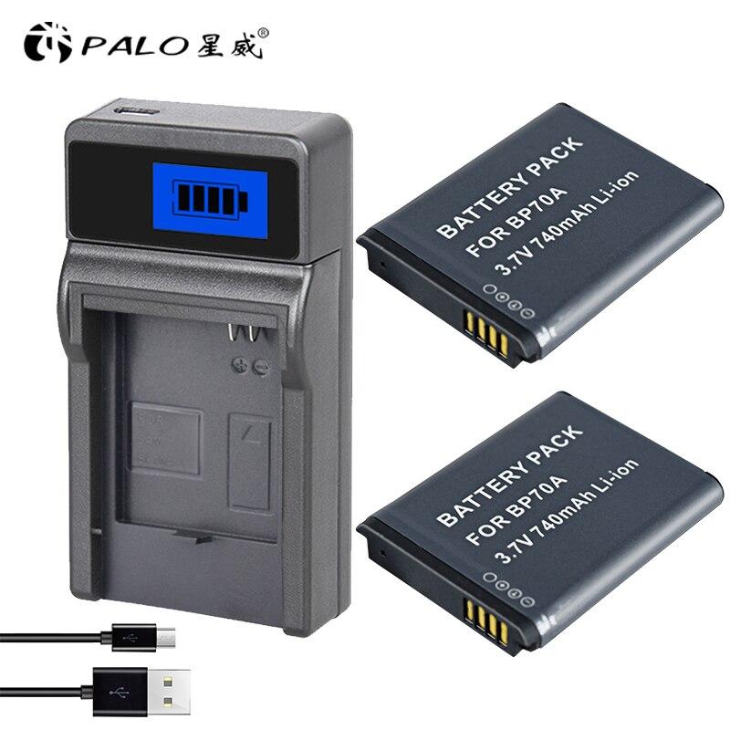 PALO 2 pcs numérique batterie pour samsung batterie bp70a es65 mv800 avec un lcd CHARGEUR bp-70a bp70a chargeur