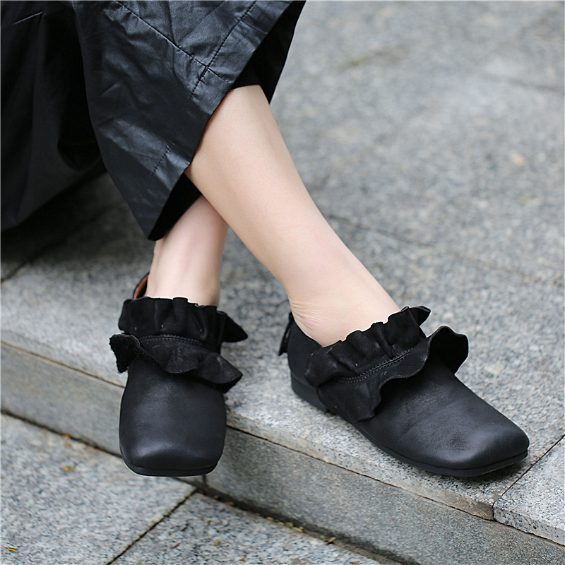 Women Leather Flats Black Lazy Shoes Brand Women Spring 2019 Loafers Ruffles Style Genuine Leather Women Moccasin Shoes Retro