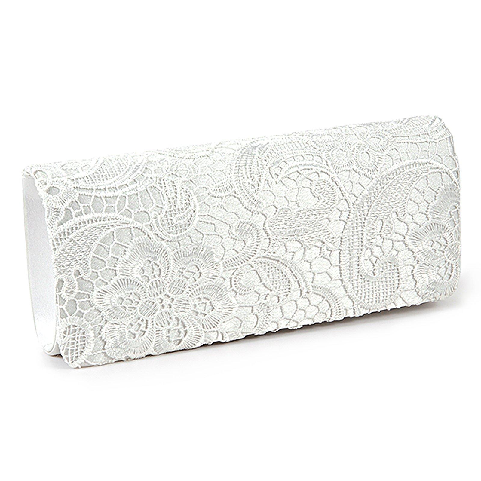 SCYL mujeres Atan Satchel Floral blanco de embrague bolso de la boda, Bolsos Mon