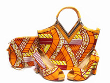 Orange hny08 size38-42 2016ใหม่มาแอฟริกันรองเท้าแตะรองเท้าออกแบบอิตาลีและถุงเพื่อให้ตรงกับขี้ผึ้งรองเท้าและชุดกระเป๋า.