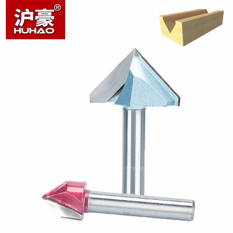 HUHAO 1pc V Type Slotting Cutter 1/2 1/4 Shank Industrial Grade Router Bits For Wood 90 Deg Tungsten Woodworking Carving Tool high grade carbide alloy 1 2 shank 2 1 4 dia bottom cleaning router bit woodworking milling cutter for mdf wood 55mm mayitr