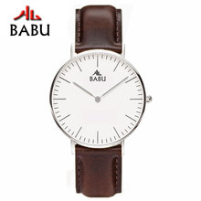 Leather Band Watch Men Waterproof White Simple Uhren Quartz BABU Brand Top Design Luxury Business Watch Men/Male Horloges Mannen