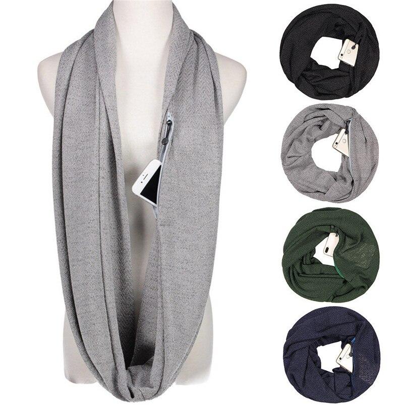 Unisex Winter Solid Wool Warm Loop Scarf Zippered Secret Pocket Shawl Ring Women Printing Scarf Bufanda de las mujeres R29 (12)