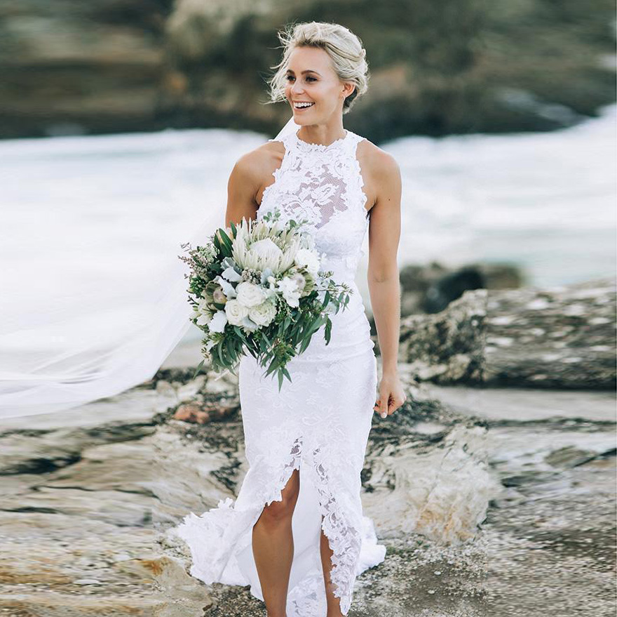 Dzw702 Lace Beach Wedding Dresses Halter Simple Cheap Dress Sexy