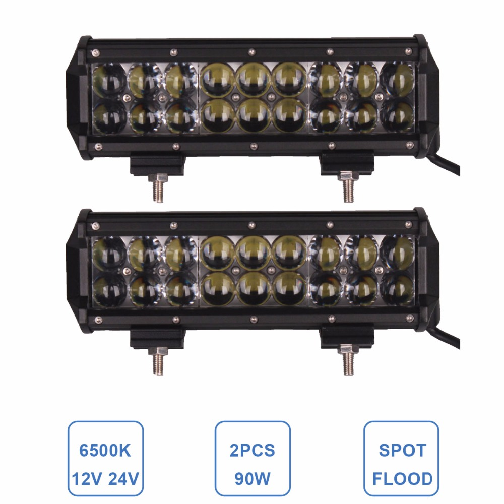 2x 9 Inch OFFROAD LED WORK LIGHT BAR 90W 12V 24V CAR ATV SUV PICKUP TRUCK TRAILER WAGON CAMPER 4WD FARM TRACTOR HEADLIGHT LAMP