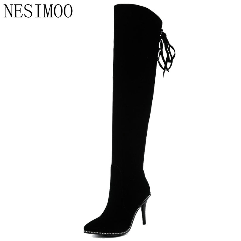 NESIMOO 2019 Women Boots Elegant Sexy Women Knee High Boots Thin High Heel  Pointed Toe Winter 0ae9c2ce5442