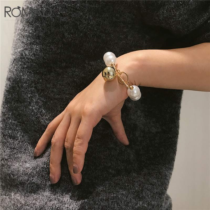 Responsible Romad New Big Size Simulated Pearl Handmade Strand Bracelets For Women European Toggle Clasps Punk Bangle Female R4 Soft And Light