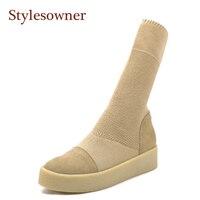 Stylesowner 2018 New Women Sock Boots Round Toe Elastic Slip On Flat Thick Bottom Platform Half