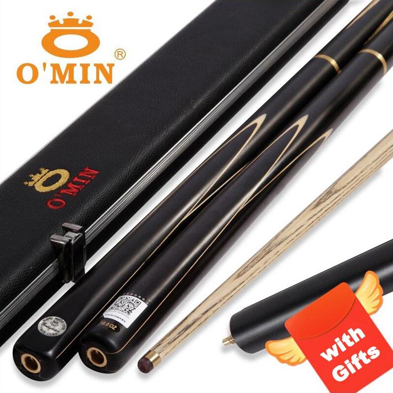 2019 ILUMINAI 3/4 Pedaço Snooker Cue O'MIN com Caso com Extensão 9.5/10mm 8 Preta Ponta Taco De Bilhar cinzas Taco de Snooker Cue