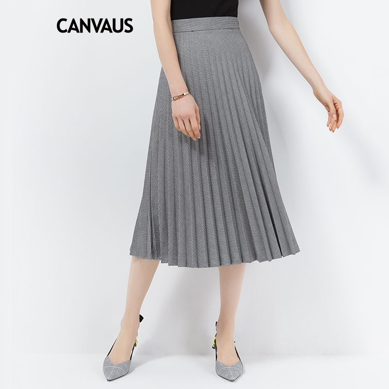 d4f9d5bf8ba CANVAUS Spring Autumn New Pleated Skirt Commuting High Waist Simple Solid  Houndstooth A-Line Long Skirts CS8011D