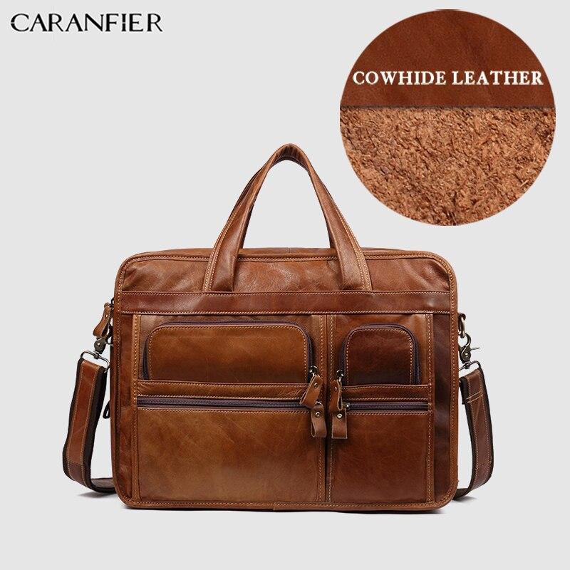 CARANFIER Mens Briefcase Vintage Lawyer Genuine Cow Leather Solid Messenger Travel Bag Shoulder Business Office Document Handbag