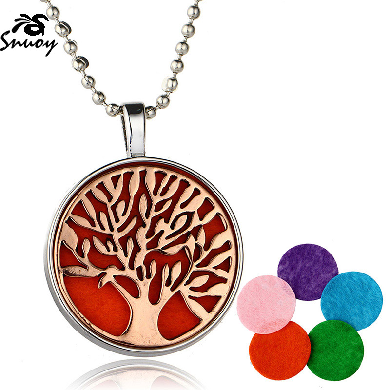 Tree Life Aromatherapy Essential Oil Diffuser Pendant Luminous Necklace Best Gifts for Lovers