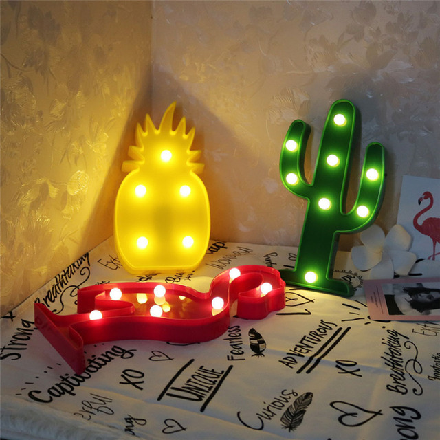3D LED Flamingo Night Lamp Ins Popular Sweet Pineapple Cactus Decor Lights  Battery Powered for Bedroom Christmas Birthday Party