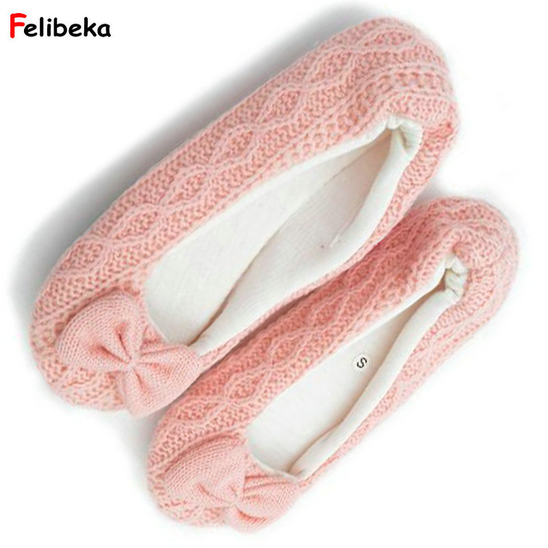 FELIBEKE lovely fancy ballet flats slippers girls knit cloth slippers shoes home indoor floor lady slipper недорго, оригинальная цена