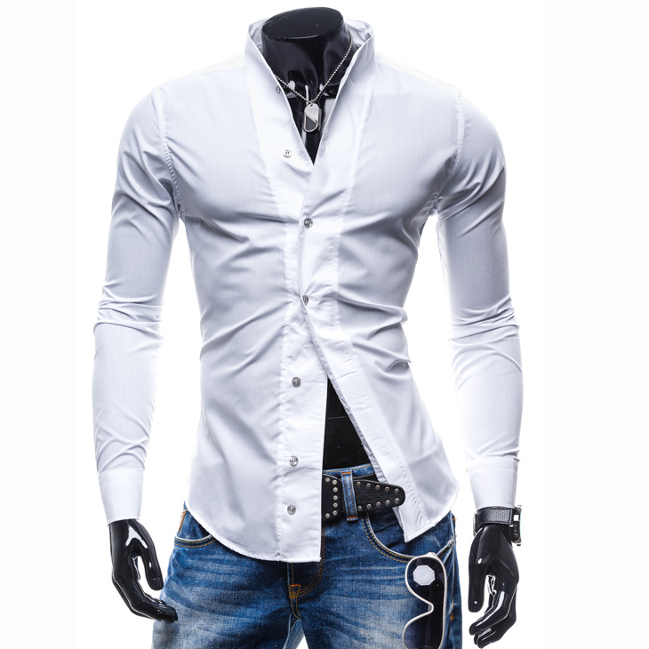 Mens Clothing Shirts Wedding-Tuxedo Slim-Fit Stand-Up-Collar Autumn Casual Spring Fashion