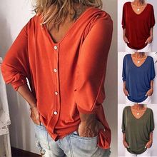 Women Casual Batwing Sleeve Blouse Loose Solid Color Long Sleeve Tee Shirt
