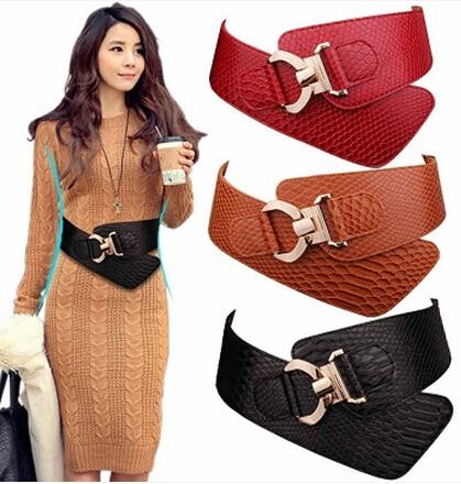 Model Fashion Women Leather Belts Wide Dress Belts Elastic Stretch Buckle Waist Belt