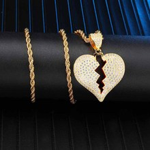 Iced Out Copper Full Rhinestone Rope Chain Heart Breaking Pendant & Necklace For Men Hip Hop Jewelry Dropshipping rhinestone heart faux leather rope necklace