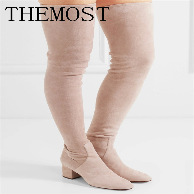 THEMOST European brand new suede leather and elastic thigh boots Ladies Sexy Boots 34-48 code