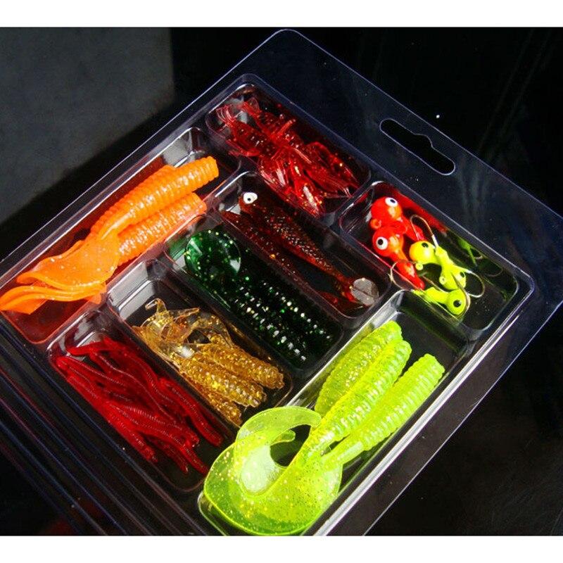 33Pcs Soft Worm Lure Lure Set Head Jig Hooks Fishing Baits Set Tackle hot September5