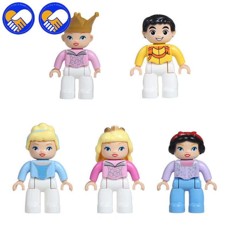 5Pcs/set Big Size Dream Castle Cinderella Princess Prince Compatible With Legos Duplo Figures Model Educational Toys