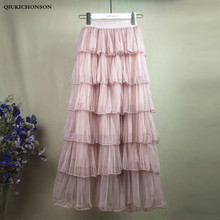 Layered Long Tulle Skirt Women Spring Summer Elastic High Waist Pleated Mesh Skirts Cute Ladies Ruffle jupe tulle femme