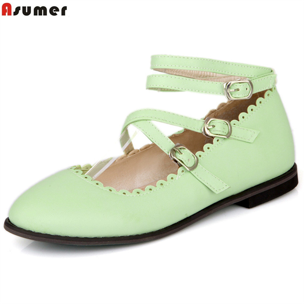 ASUMER black beige pink fashion spring autumn ladies single shoes round toe buckle casual women flats plus size 33-46 beyarne rivets decoration brand shoes flats women spring autumn fashion womens flats boat shoes sexy ladies plus size 11
