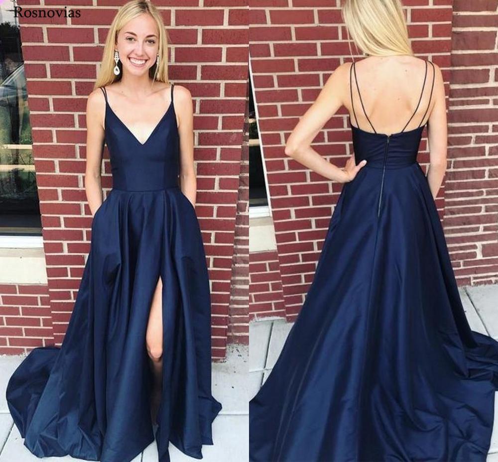 2019 bleu marine robes de bal avec poches col en V dos nu Split balayage Train formel soirée robes robes d'occasion spéciale