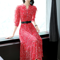 2018 Autumn winter clothes for women chiffon long red dress plus size large slim bodycon party runway maxi dresses with blet