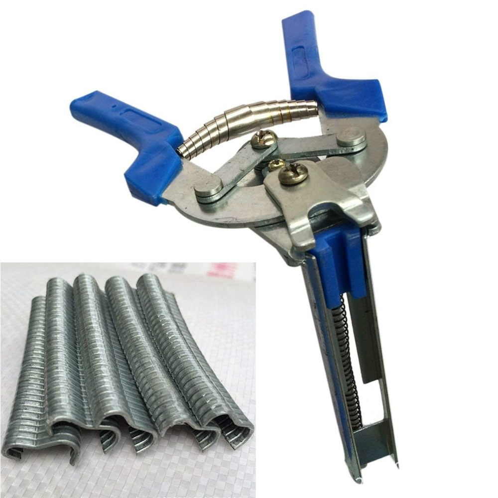 LIXF 1pc Hog Ring Plier Tool and 600pcs M Clips Chicken Mesh Cage Wire Fencing Crimping Solder Joint Welding Repair Hand Tools Pliers     - title=
