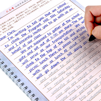 3 book/set Hengshui English copybook + pens handwriting groove training copy English Alphabet words auto fades can be reused
