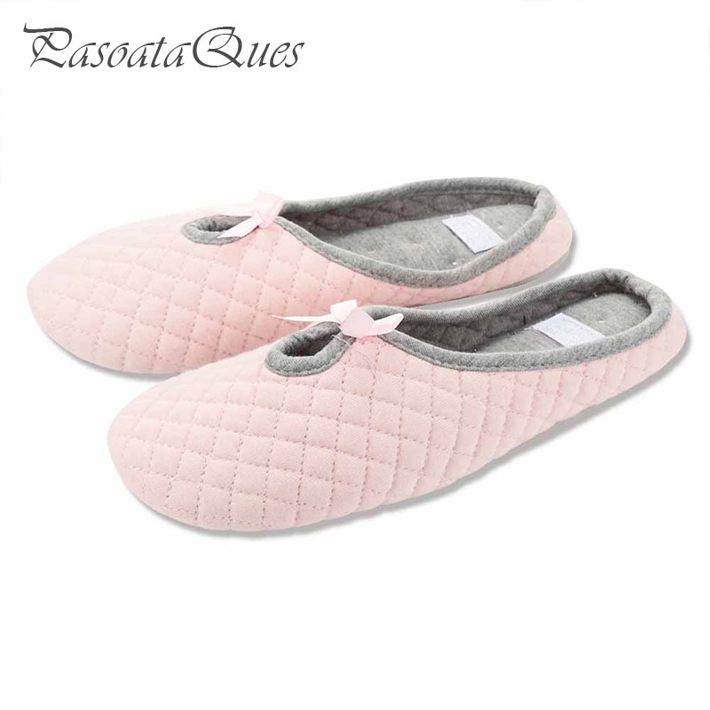 56592a080f2 Cute Bowtie Winter Women Home Slippers For Indoor Bedroom House Soft Bottom Cotton  Warm Shoes Adult Guests Flats Christmas Gift