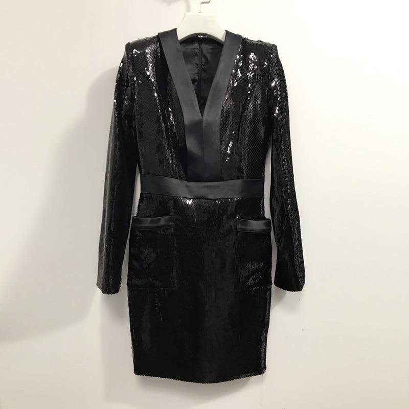 Manches Robe Parti À Designer Sexy Paillettes 2018 Baroque Mode Col De Longues Nouvelle V Piste Femmes xRqw4HUH