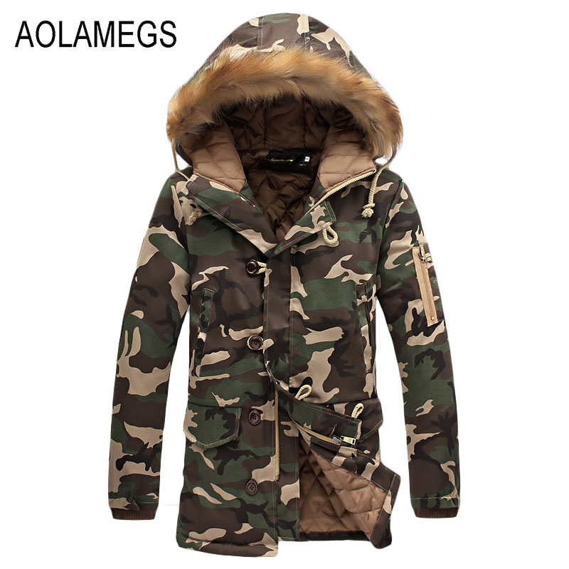 Aolamegs Camouflage Parkas Winter Jacket Men Military Style Medium Long Hooded Winter Coat Cotton Padded Warm