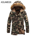 Aolamegs Camouflage Parkas Winter Jacket Men Military Style Medium-long Hooded Winter Coat Cotton-Padded Warm Jackets Plus Size