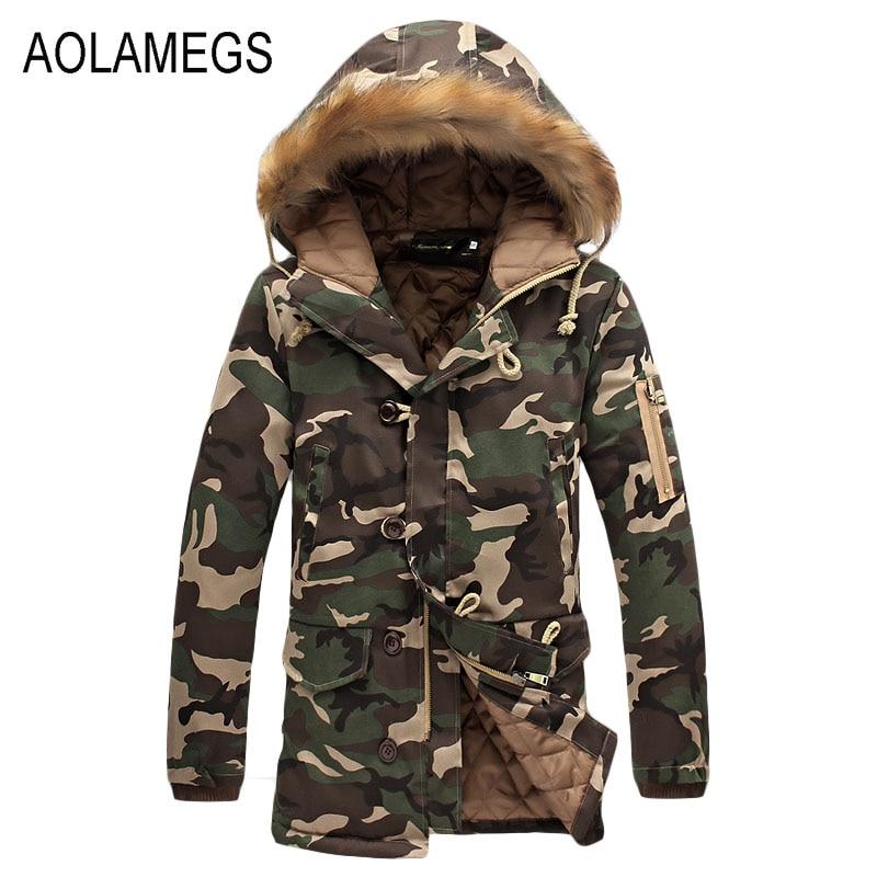 Aolamegs Camouflage   Parkas   Winter Jacket Men Military Style Medium-long Hooded Winter Coat Cotton-Padded Warm Jackets Plus Size