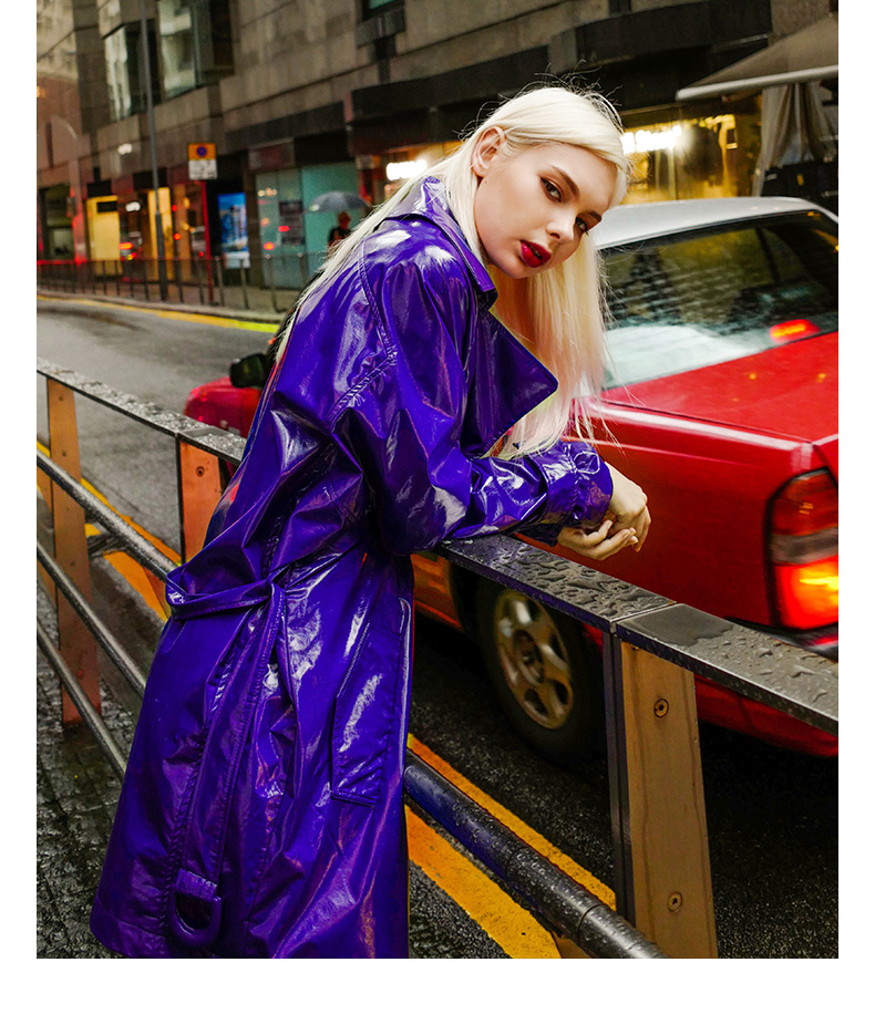 Purple elegant ladies long   Leather   trench coats 2019 autumn new fashion sashes slim loose trench tops female gx1135